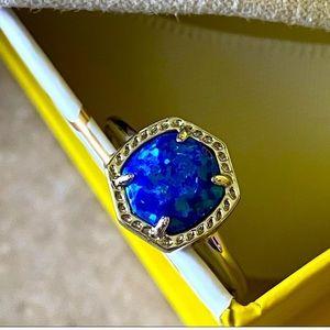 Davie Silver Band Ring In Royal Blue Kyocera Opal